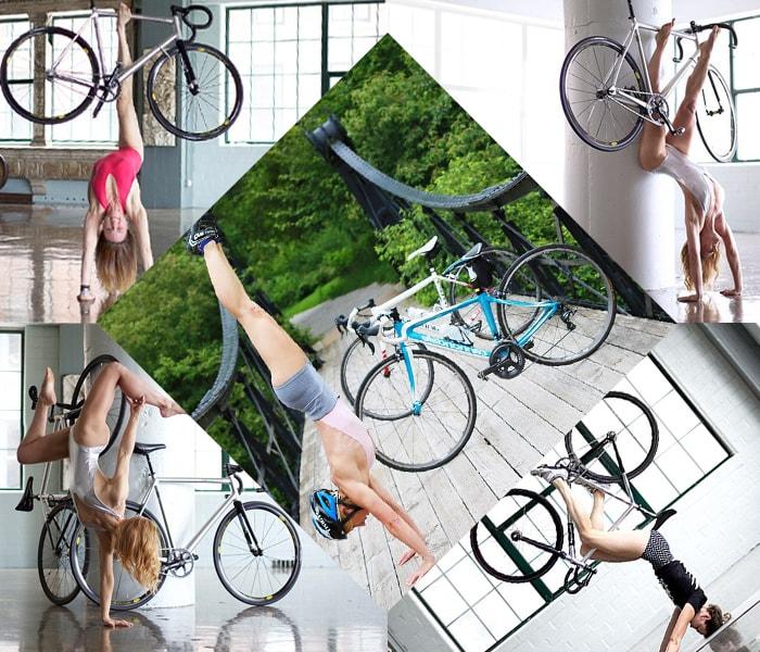 Tập yoga cùng chiếc xe đạp